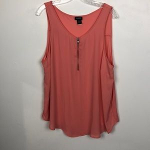 Torrid Zip Up Salmon Color Tank EUC Sz 1X